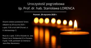 Uroczystość pogrzebowa ś. p. Prof. zw. dr. hab. Stanisława Lorenca